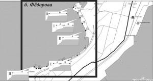 Рис. 1. Карта-схема района исследования и выделенных зон литодинамической активности
